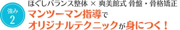2.尼崎市塚口、立花、尼崎口田中の整骨院爽美館はマンツーマン指導で整体・骨盤矯正のテクニックが身に付く